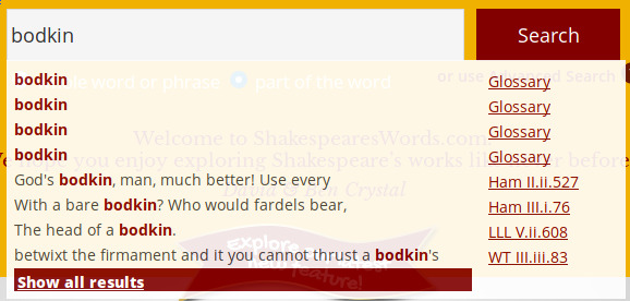 looking up the word bodkin