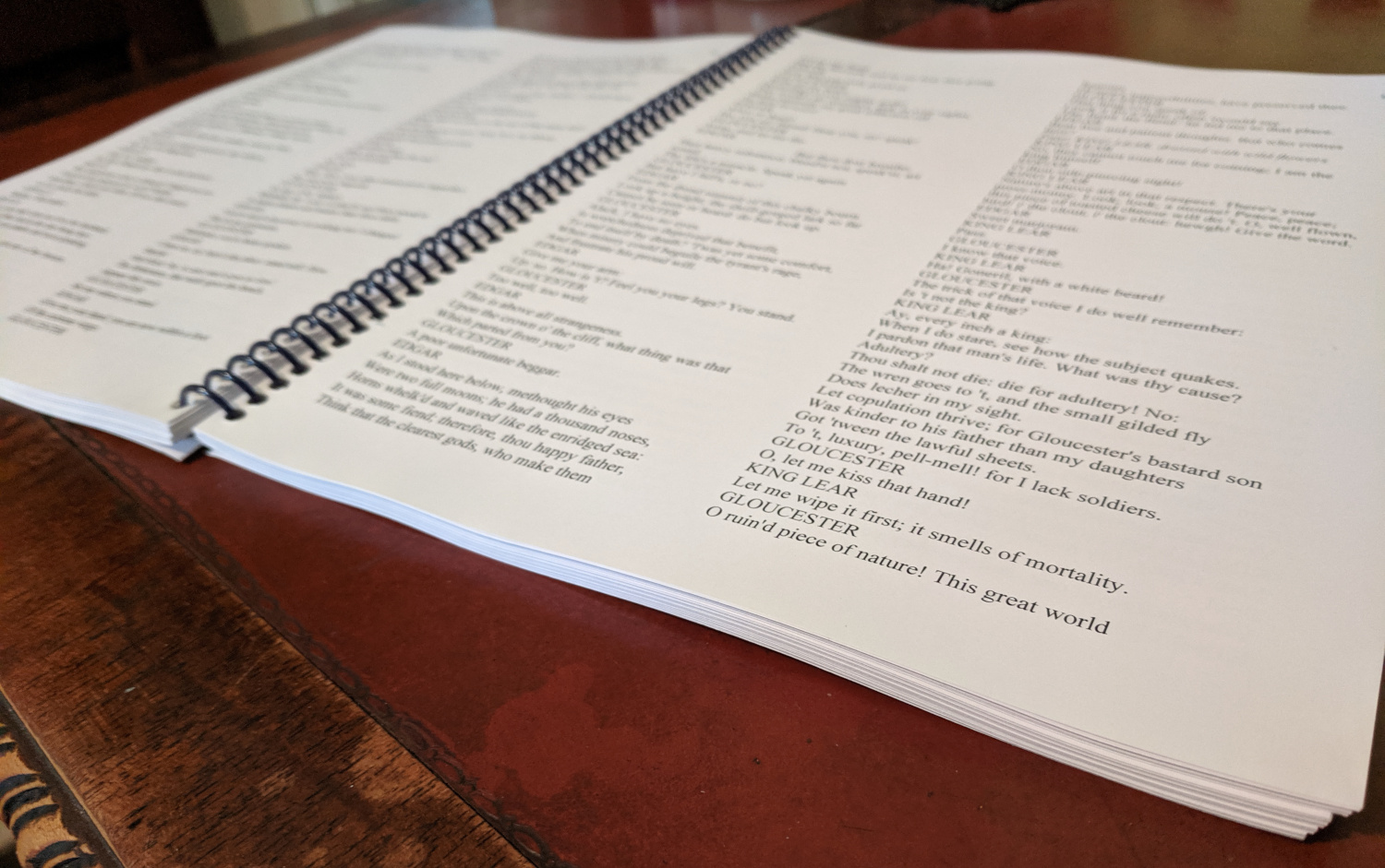 the printed script for ShakesBEERience Encore